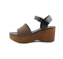 Sandalia de madera con tira ancha nobuk marrón 220V