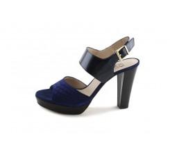 Sandalia de tacón serpiente azulón con hebillas Joni