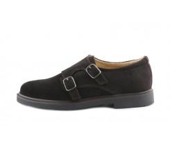 Zapato de ante marrón con doble hebilla Jeromín