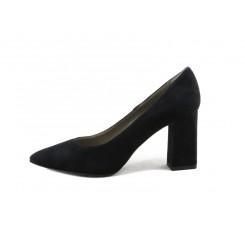 Zapato de salón en serraje negro con tacón Cafe Noir