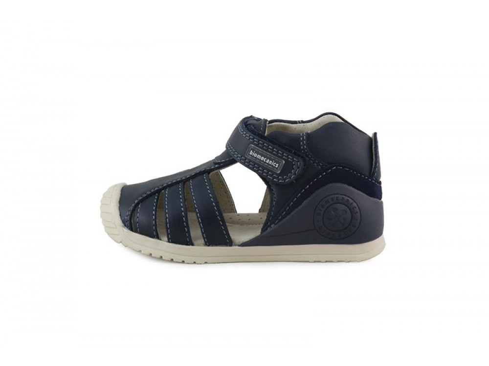 Azul Sandalia Con Piel En Velcro Biomecanics Bota bYvgyf76