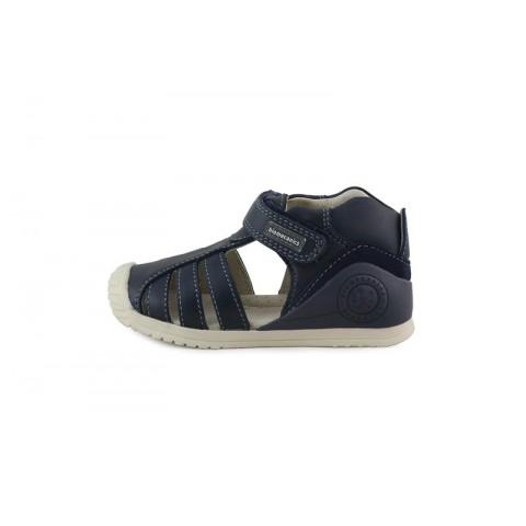 Sandalia bota en piel azul con velcro Biomecanics