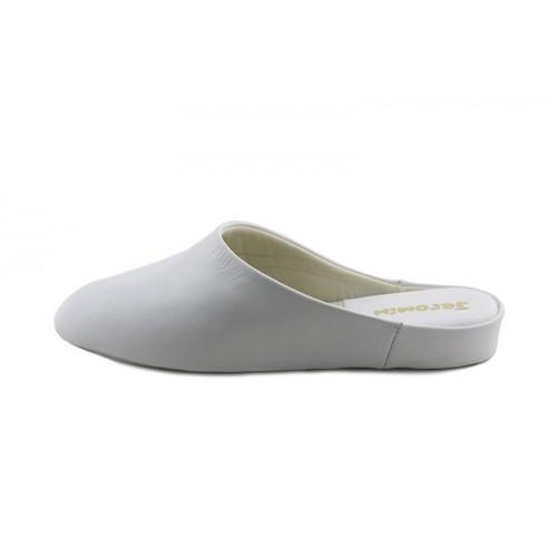 Zapatilla chinela lisa en piel blanca Jeromín