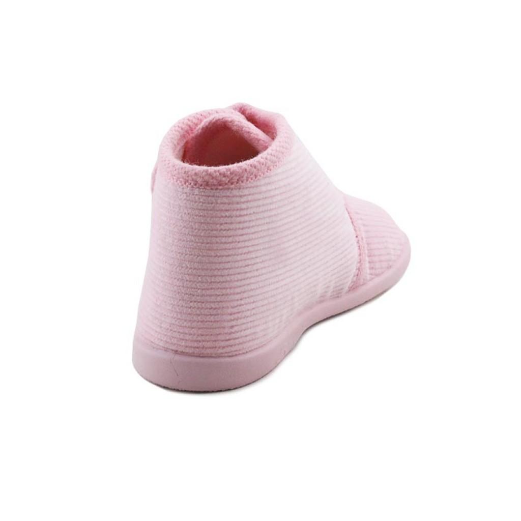 Botita para casa de pana rosa con velcro Vul-Ladi