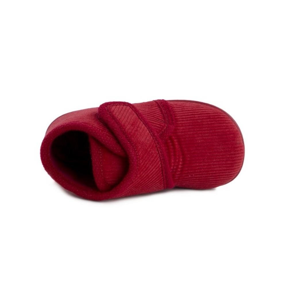 Botita para casa de pana roja con velcro Vul-Ladi