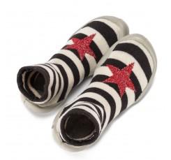 Zapatilla para casa calcetín con estrella y rayas en blanco/negro Collegien