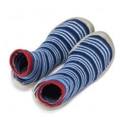Zapatilla para casa calcetín con rayitas en azulón Collegien
