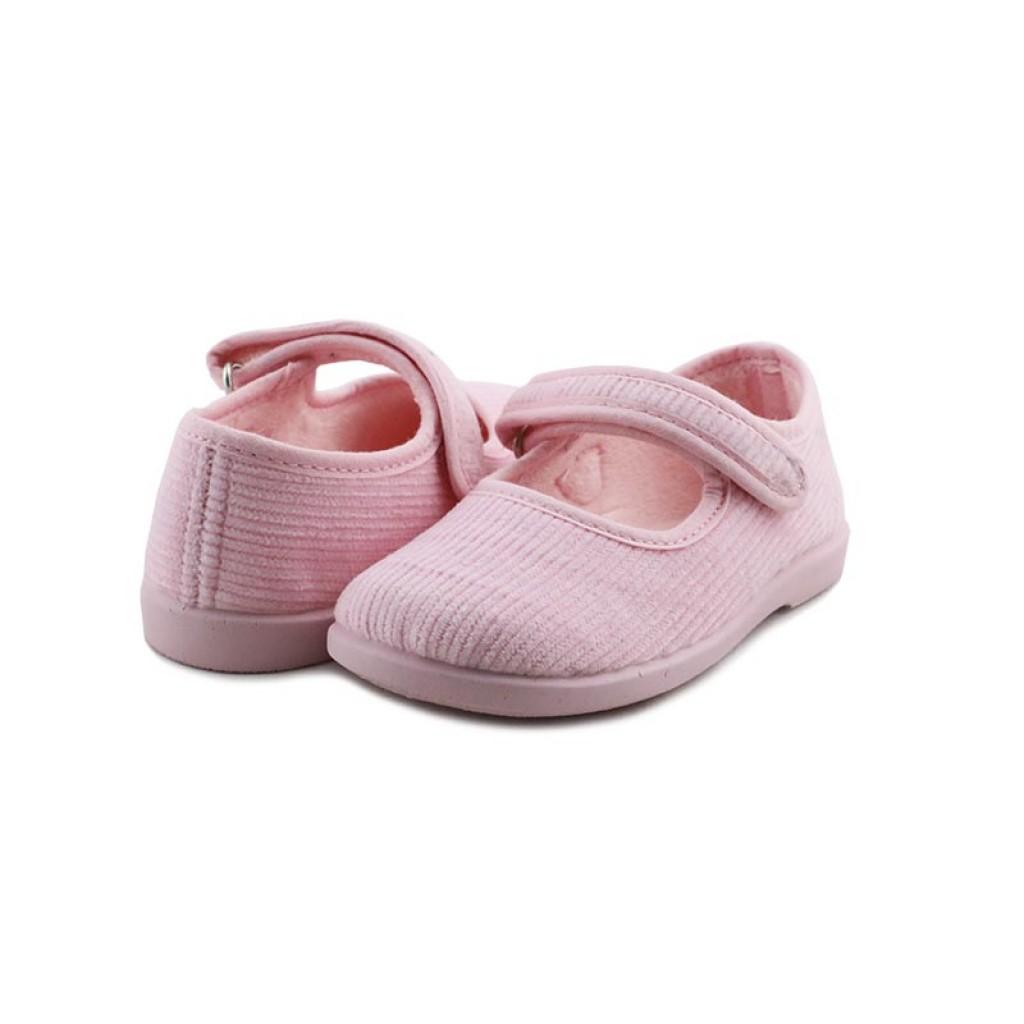 Mercedita para casa en pana rosa con velcro Vul-Ladi