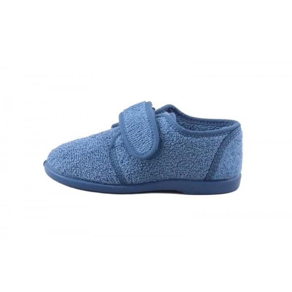 Zapatilla de felpa azulón con velcro Vul-Ladi