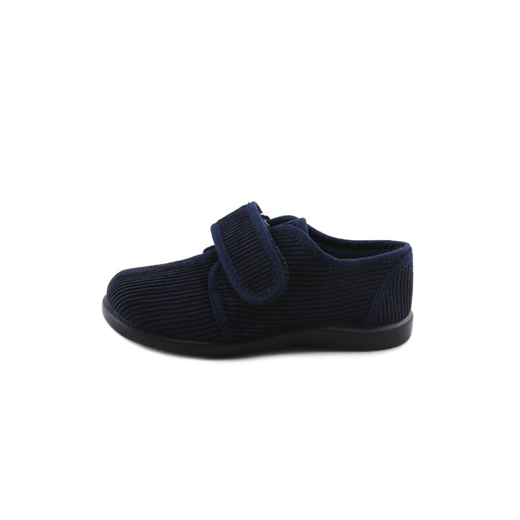 Zapatilla de pana azul con velcro Vul-Ladi