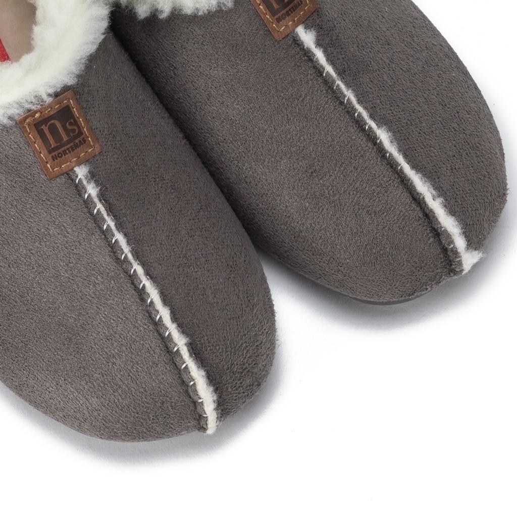 Zapatilla para casa forrada en color gris Norteñas