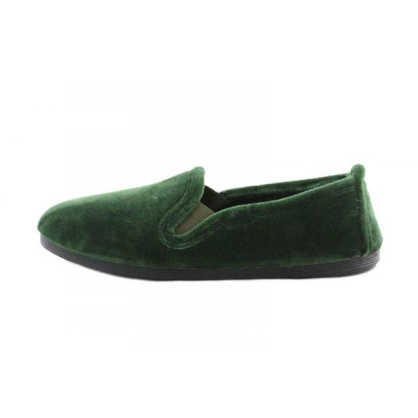 Zapatilla casa copete terciopelo verde La Cadena