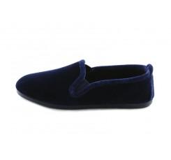 Zapatilla casa copete terciopelo azul La Cadena