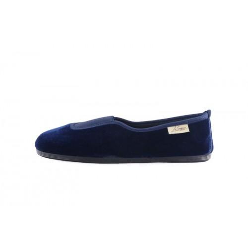 Zapatilla para casa terciopelo azul La Cadena
