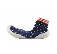 Zapatilla para casa calcetín azul con puntitos Collegien