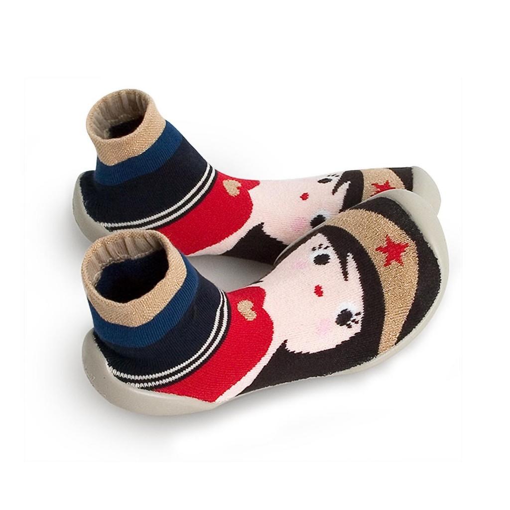 Zapatilla para casa calcetín supergirl dorado Collegien