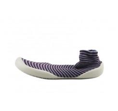Zapatilla para casa calcetín rayas azul burdeos Collegien