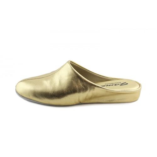 Zapatilla chinela para casa en piel dorado Jeromín