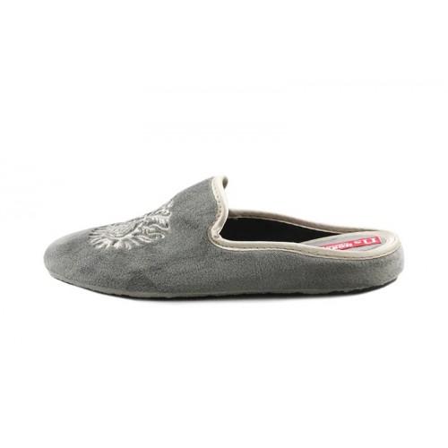 Zapatilla abierta para casa en terciopelo gris con escudo Norteñas