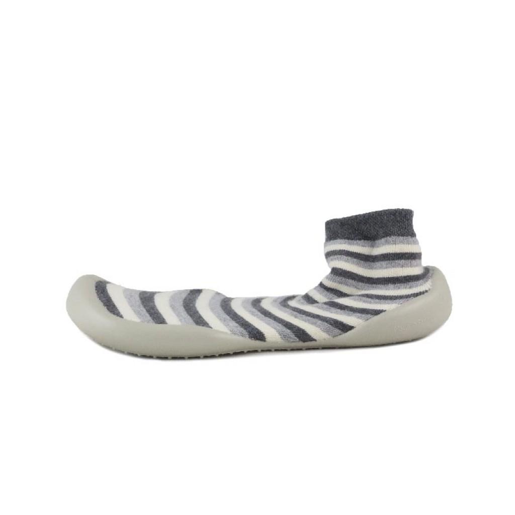 Zapatilla para casa calcetín rayas grises Collegien