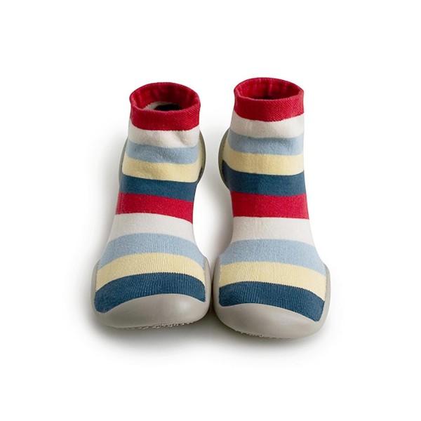 Zapatilla para casa calcetín rayas azul, amarillo y rojo Collegien