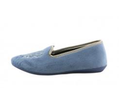 Zapatilla copete para casa en terciopelo azul jeans con escudo Norteñas