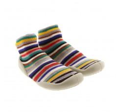 Zapatilla para casa calcetin rayitas multicolor Collegien