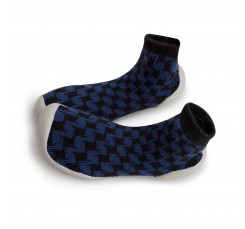 Zapatilla para casa calcetin con cuadros negros y azules Collegien