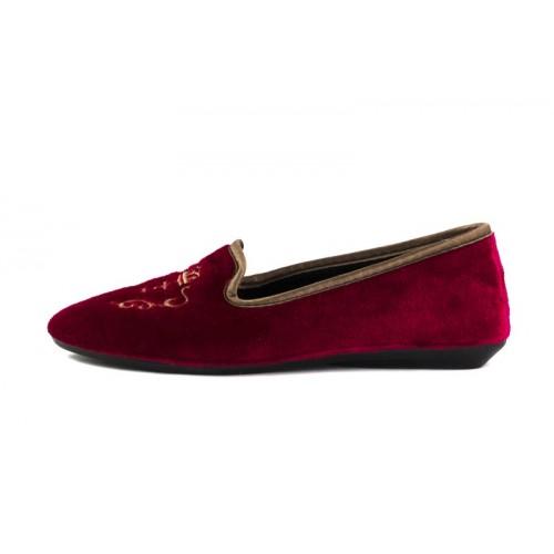 Zapatilla para casa terciopelo rojo Norteñas