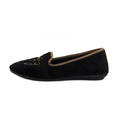 Zapatillas para casa terciopelo negro Norteñas