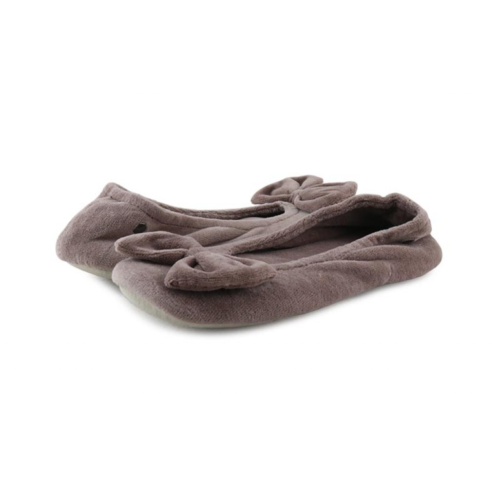 Zapatilla terciopelo taupe para casa Isotoner