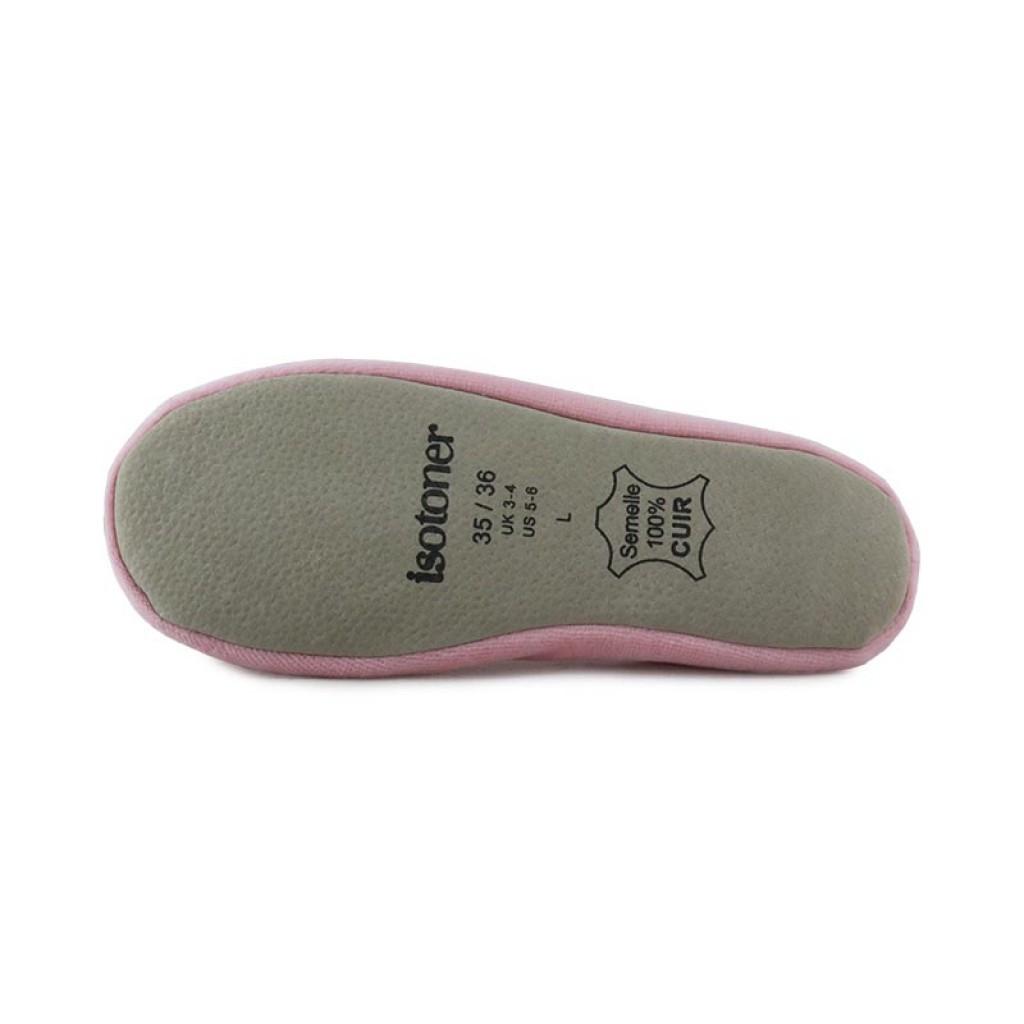 Zapatilla terciopelo rosa claro para casa Isotoner