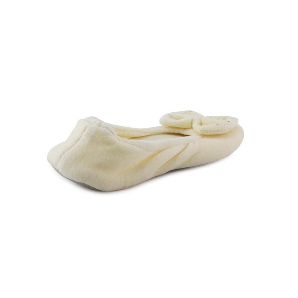 Zapatilla terciopelo beige para casa con brillantes Isotoner