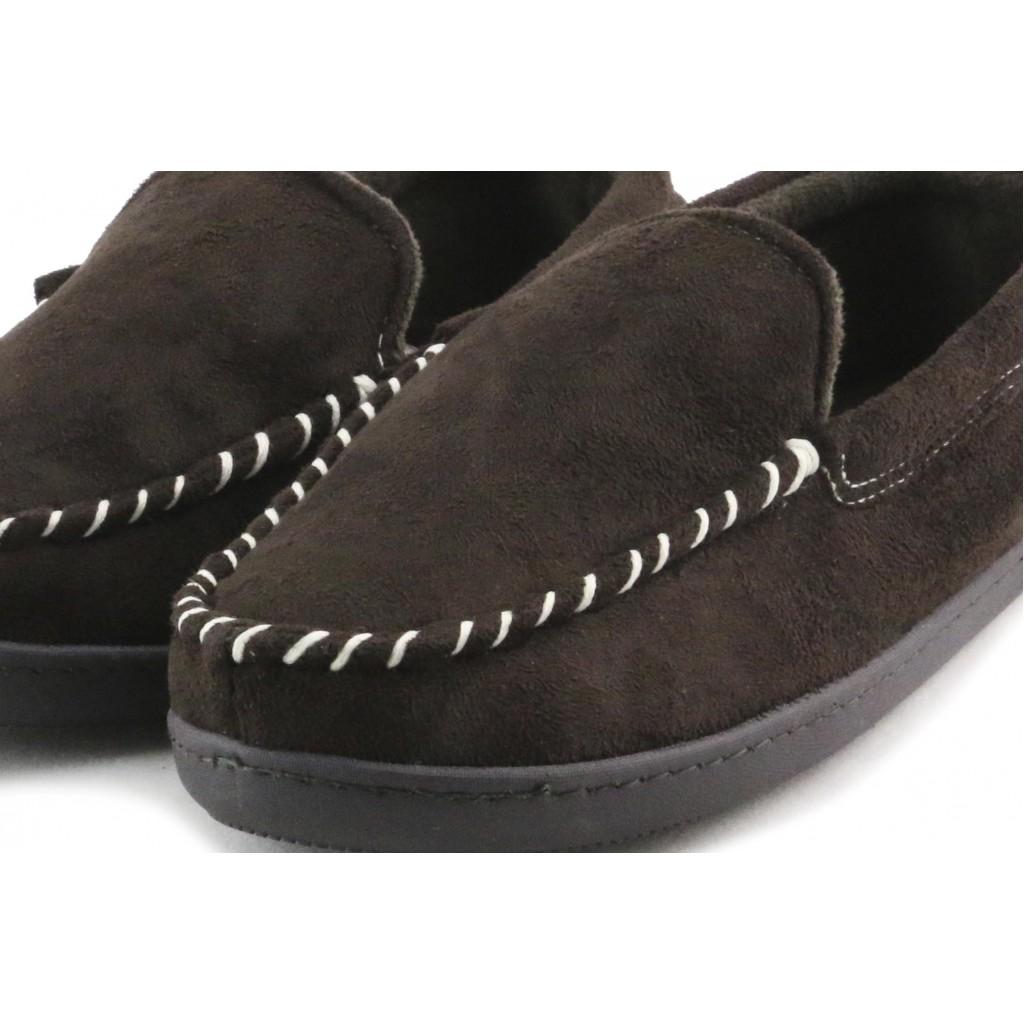 Zapatilla para casa antelina marrón estilo mocasin Isotoner