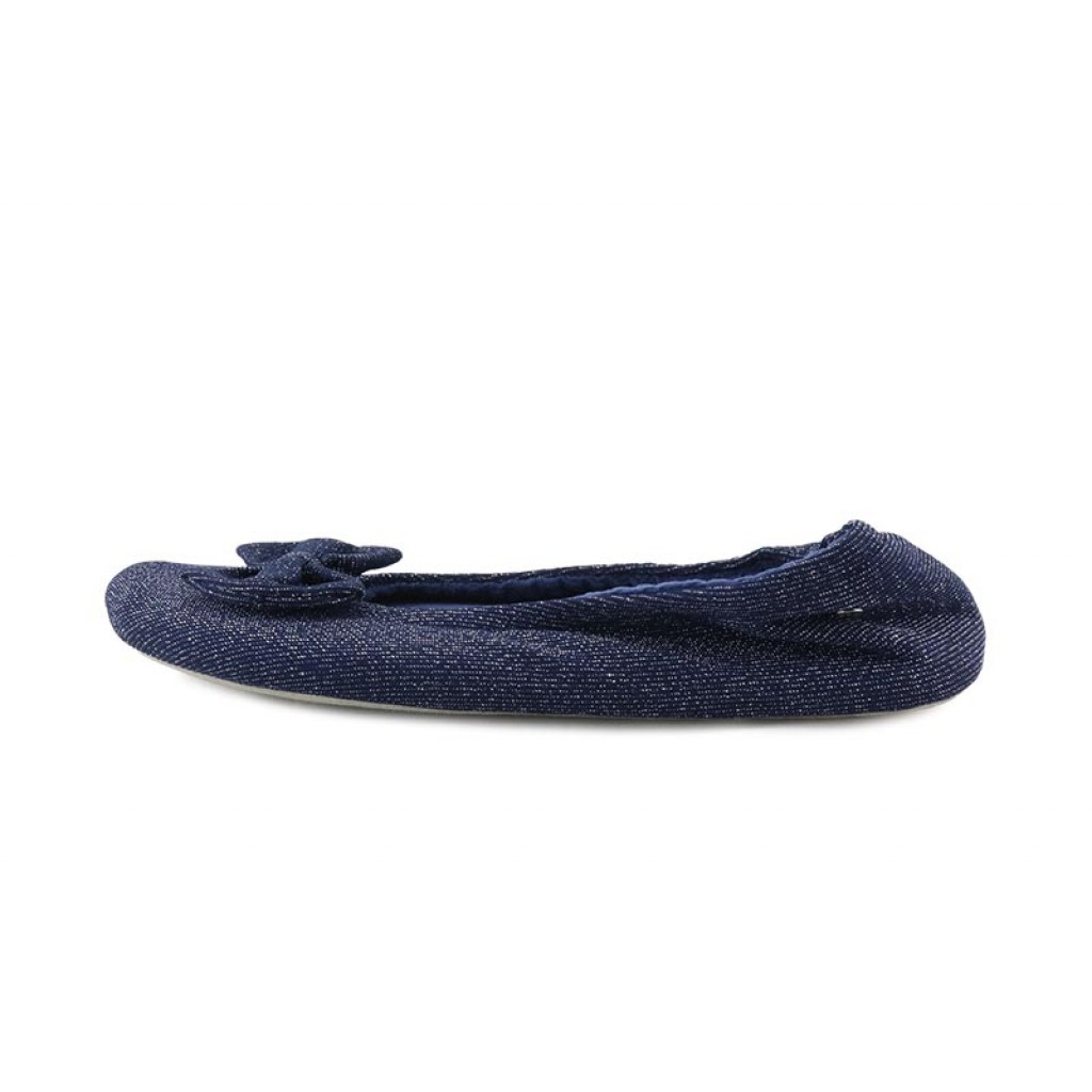 Zapatilla terciopelo azul lurex para casa Isotoner
