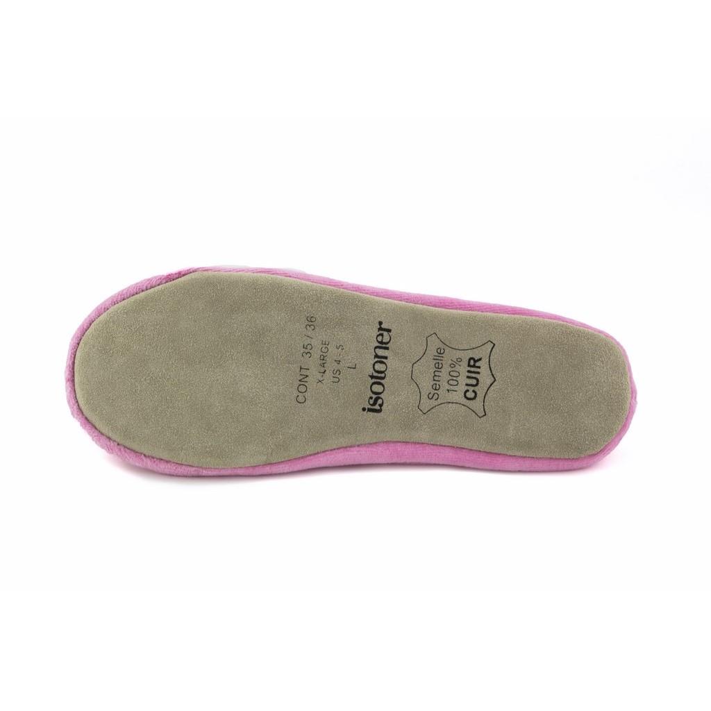 Zapatilla terciopelo para casa rosa Isotoner