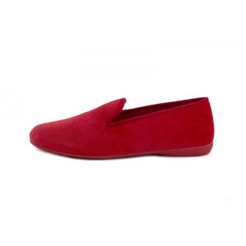 Zapatilla copete para casa de pana roja Vul-Ladi