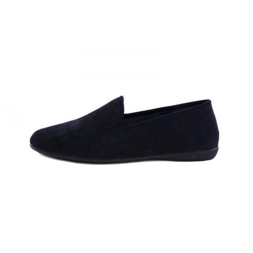 Zapatilla copete para casa de pana azul Vul-Ladi