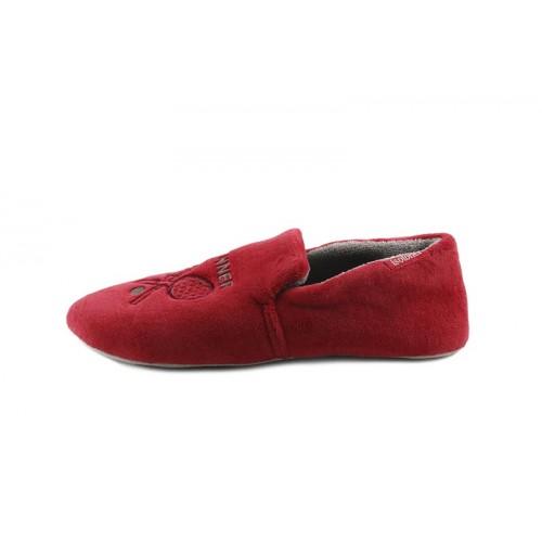 Zapatilla copete terciopelo rojo con dibujo Isotoner