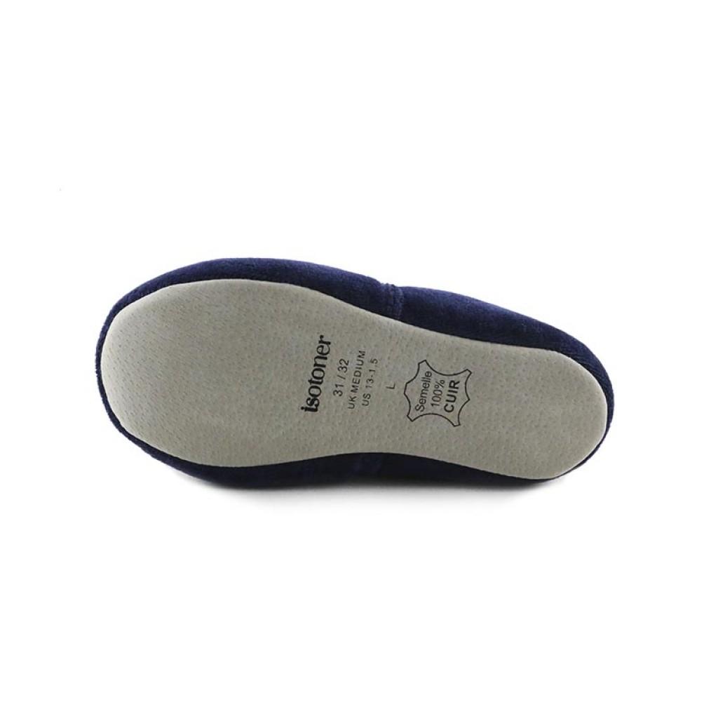 Zapatilla copete terciopelo azul con dibujo Isotoner