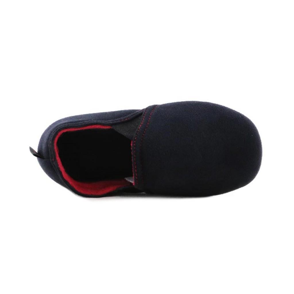 Zapatilla copete para casa antelina negra Isotoner