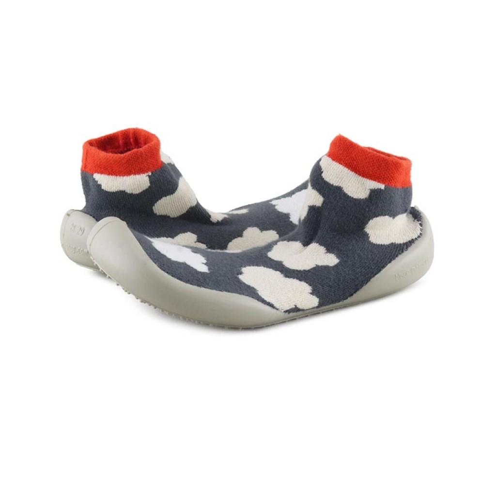 Zapatilla para casa calcetín nubes gris Collegien