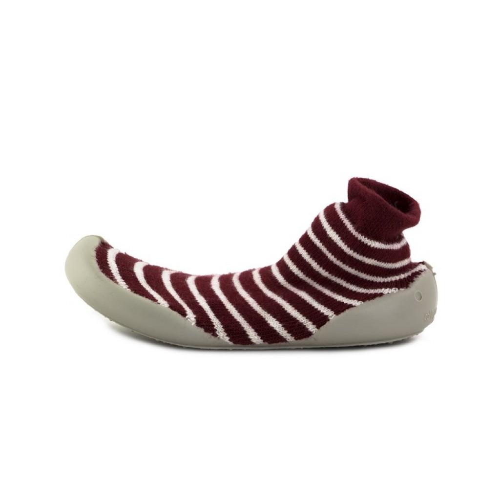 Zapatilla para casa calcetín rayas burdeos/blanco Collegien