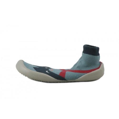 Zapatilla para casa calcetín azul y gris con antifaz Collégien