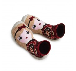 Zapatilla para casa calcetín niña con diadema de lazo Collegien