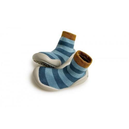 Zapatilla para casa calcetín de rayas anchas azul jeans Collegien