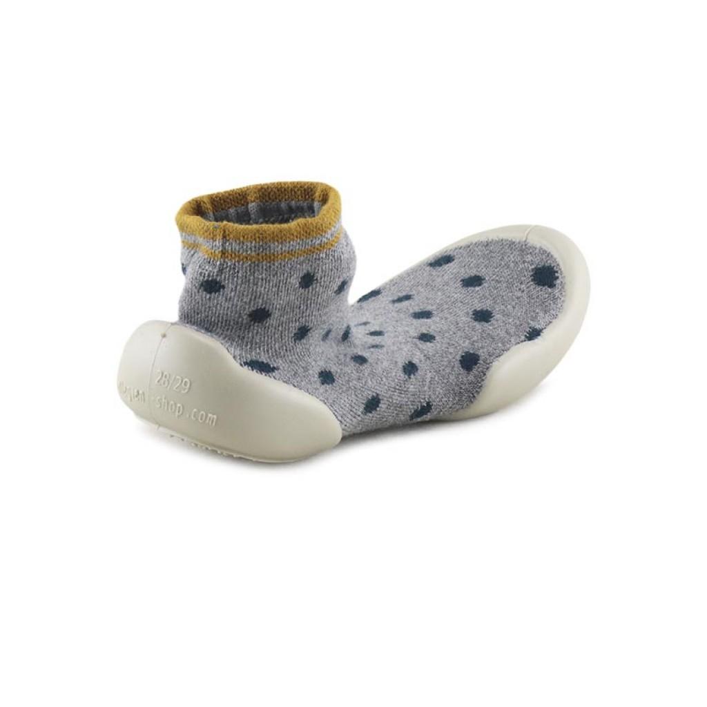 Zapatilla para casa calcetín lunares gris/azul Collegien