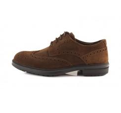 Zapato ante marrón picado con cordón Ric.Bel