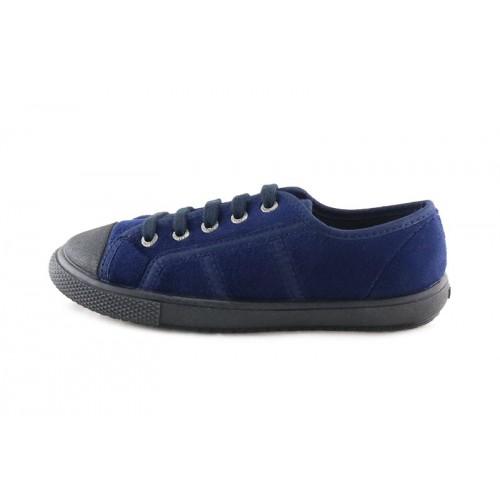 Blucher de terciopelo azul con cordón Vul-Ladi