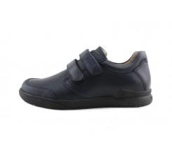 Zapato colegial piel azul con velcro Biomecanics